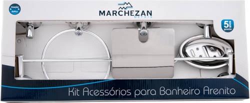 16000 - Kit Acessórios para Banheiro Arenito com 5 peças em Alumínio Anodizado