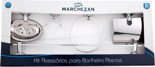 26000 - Kit Acessórios para Banheiro Atenas com 5 peças em Alumínio Anodizado