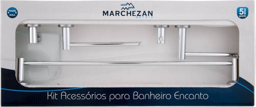 6000 - Kit Acessórios para Banheiro Encanto com 5 peças em Alumínio Anodizado
