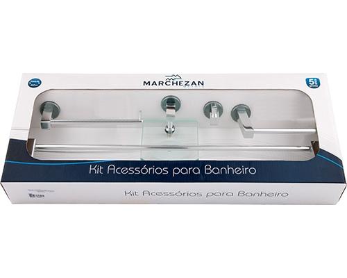 Kit Acessórios para Banheiro Essência com 5 peças em Alumínio Anodizado