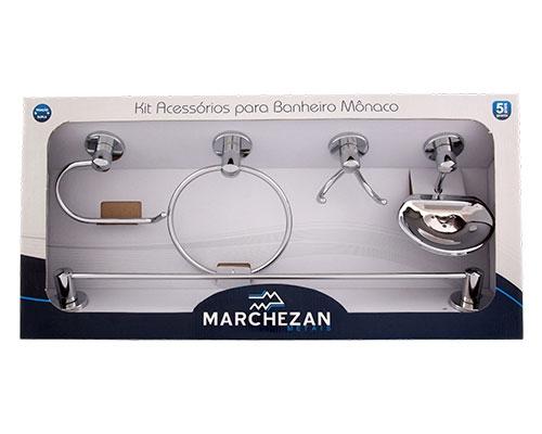 46000 - Kit Acessórios para Banheiro Mônaco com 5 peças em Latão
