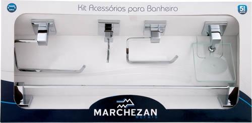 Kit Acessórios para Banheiro Quadra com 5 peças em Latão